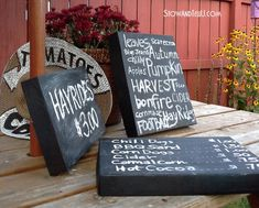 Shoebox lids become adorable chalkboard signs for the home! This is a classic trash-to-treasure DIY project. From Stow and Tell U