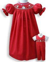 84d0ee0b6160a Girls Smocked Santa Claus Christmas Red Bishop Dress – Carousel Wear  Christmas Applique, Christmas Sewing