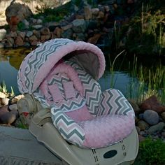 Custom Replacement Baby Car Seat Cover Graco Snugride 22 Pink Amp Gray Chevron