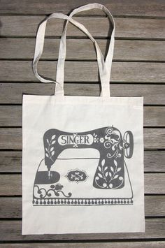 Handy Eco Tote Bag The Heritage Sewing by stephaniecoleDESIGN. £8.00, via Etsy.