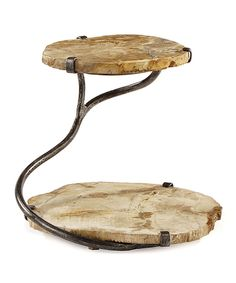Take a look at this Two-Tier Petrified Wood Serving Stand today! Fossilized Wood, Petrified Wood, Diy Wood Projects, Woodworking Projects, Deco Restaurant, Metal Tree Wall Art, Into The Woods, Metal Candle Holders, Tiered Stand