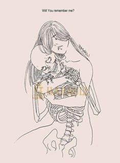 Death and maiden. Haenuli Shin, Der Steppenwolf, Art Et Design, Skeleton Art, Arte Obscura, Skull Art, Macabre, Dark Art, Art Inspo