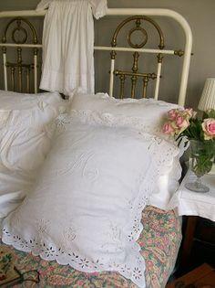 Antique French monogrammed pillowcase for sale at www.lavenderhousevintage.co.uk #lavenderhousevintage #vintage #shabbychic  #homedecor #interiors #bedtime #pretty