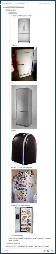 Only on tumblr are those adjectives we would use about fridges.