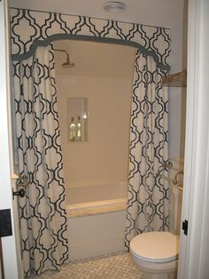 Great Shower Valance With Curtains   Transitional   Bathroom   Liz Caan Interiors