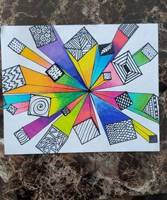 1 Point Perspective by SaraGotch: 7 Steps With Videos Middle School Art Projects, Classroom Art Projects, Art Classroom, Fun Art Projects, Color Wheel Projects, Back To School Art, Art Education Projects, Art School, 6th Grade Art