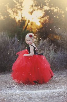 flower girl dress red red and black flower by BambaroosBoutique