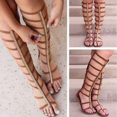 Summer Sandals Flat Heel Women Shoes Zipper Elastic Sexy Knee High Gladiator Sandals