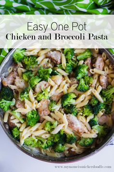 Easy One Pot Chicken and Broccoli Pasta - make this dinner all in one pot! **Made this with rotisserie chicken, cellentani pasta, and cream. Was easy and delicious. Pasta Recipes, Chicken Recipes, Dinner Recipes, Cooking Recipes, Healthy Recipes, Dinner Ideas, Fun Recipes, Meal Recipes, Healthy Meals
