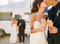 Ice cream cones for the bride + groom