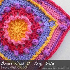 Posy Field Bonus Block 2: Posie Field Square {Photo Tutorial} ~ free pattern ᛡ
