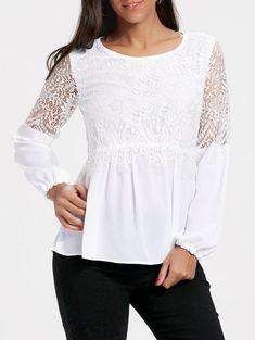 Chiffon Lace Trim Long Sleeve Top - WHITE L