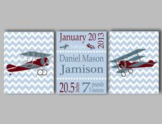 Airplane Nursery Art, Airplane Wall Art, Vintage Airplane Wall Art, Airplane Prints, Plane Wall Art, Birth Statistics, Choose Colors This vintage airplane print collection will be the perfect addition to your baby boys airplane nursery. The collection of three airplane prints includes two vintage airplane prints on chevron backgrounds and a birth statistics print, featuring your little ones name and birth information. If youd like to substitute another word art print (i.e., Dream Big shown…