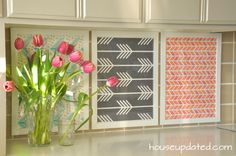 DIY Temporary Backsplash - using Ikea frames and Spoonflower wallpaper samples