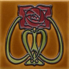"Duquella Tile. Craftsman style Mackintosh Glasgow Rose Flower. 6"" square. Price $48.00"