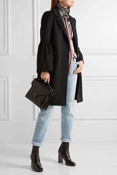Black wool and cashmere-blend Button fastenings through front 80% wool, 20% cashmere; trim: 70% wool, 20% polyamide, 10% cashmere; lining: 50% acetate, 50% viscose Specialist clean