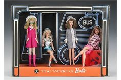 A rare Barbie 'The World of Barbie' Bus Stop point of sale display, circa 1968, featuring a blonde Francie in Culotte -Wot?, a blonde Barbie in Zokko!, a brunette Francie in Side Kick and a titian Barbie in Dancing Stripes with a cardboard bus and bus stop, in original card display case with cellophane on four sides, label on the back Made by Rosebud Mattel Ltd, in original cardboard outer case - 20in. (51cm.) wide 15in. (38cm.) high 71?2in. (19cm.) deep