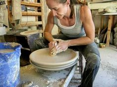 How to throw a large platter on the potter's / pottery wheel .