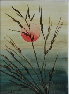 Sunset watercolor. Sunrise painting. Grasses by CecileRancourtArt