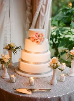 wedding cake - love the colors, champagne ribbon, and pink flowers