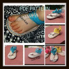 S A L E 40% OFF.  Crochet pattern baby  girl flip flop by IvonKaa