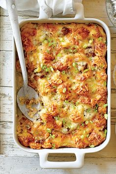 This casserole is rich, delicious, and worthy of Thanksgiving Brunch. Gruyère cheese browns beautifully and adds a nutty flavor to the dish. You can sub Swiss cheese if you prefer.Recipe: Cheesy Sausage-and-Croissant Casserole