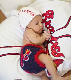 Baby Atlanta Braves Inspired TEAM Hat and Diaper by pixieharmony.  Special thanks to Christina for the darling photo!