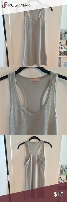 Coleur de Rose -Silver Sparkle Racerback Tank Coleur de Rose -Silver Sparkle Racerback Tank. This is a great basic layering long tank that can be worn with everything. Purchased at Nordstrom.  Worn a few times but in excellent condition.  Color: Gray/Silver , Size : Small Coleur de Rose Tops Tank Tops