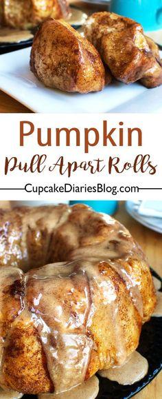 Pumpkin Pull Apart Rolls with Cinnamon-Maple Glaze