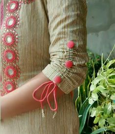 Looking for latest sleeve designs to try with your kurtis and kurthas? Here are 15 chic designs that will look totally chic on your dress.How to Make Beautiful Sleeves Designs - Tutorial - ArtsyCraftsyDadSheer full length gives a special look Salwar Designs, Simple Kurti Designs, Kurta Designs Women, Kurti Designs Party Wear, Latest Kurti Designs, Plain Kurti Designs, Salwar Suit Neck Designs, Chudidhar Neck Designs, Neck Designs For Suits