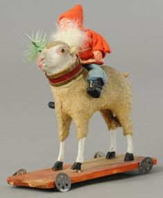 PULL TOY SHEEP CANDY CONTAINER : Lot 1425