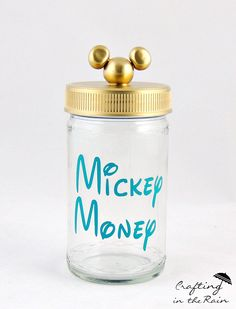 Learn how to make this Mickey Money jar on our website - A fun way for your family to save money together for a vacation! #Disney #Mickey