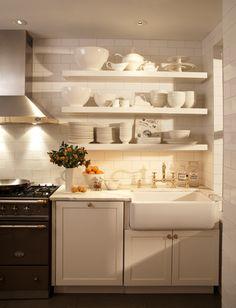 Paul Davis New York: Gorgeous all white kitchen design with white subway tile covered walls. Simple white ...