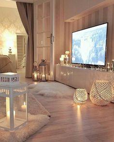 fur rug and lanterns