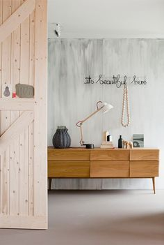 Wire words, sideboard, wall color <3 Via the imaginary world of Miss Christine