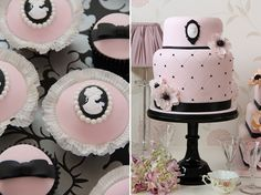 cameo cakes and cupcakes from Sweetness Cakes & Confectionery Pretty Cakes, Beautiful Cakes, Amazing Cakes, Girly Cakes, Big Cakes, Cameo Cake, First Birthday Cupcakes, Birthday Treats, Birthday Gifts