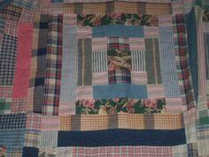 Vintage Quilt top Logcabin squares bird homespun check cottage country excellent