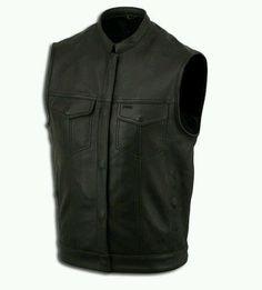 MENS LEATHER MOTORCYCLE BIKER MC CLUB VEST Conceal Carry CCW Pocket No Seam Back #sturgismidwestinc