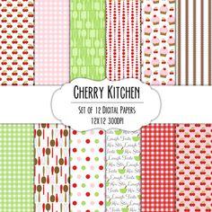 Cherry Kitchen Digital Scrapbook Paper