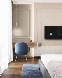 Blue Apartment on Behance Luxury Bedroom Design, Master Bedroom Design, Bedroom Tv, Kitchen Room Design, Home Room Design, Flat Interior, Contemporary Home Decor, Retro Home Decor, Luxurious Bedrooms