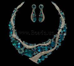 Ensembles de bijoux de mariée, boucle d'oreille & collier, alliage de zinc, avec verre, acier inoxydable puce boucle d'oreille, avec 5cm chaînes de rallonge