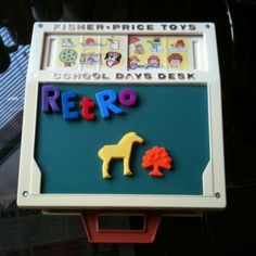 Vintage Retro Fisher Price Desk ~ So many of these toys say they are from the 70's but my oldest son was born in '82 and had this same exact desk.