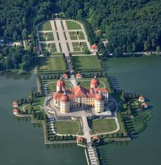 Moritzburg Castle on its artificial island, near Dresden, Saxony, Germany. Castle was built during 1542-1546 from local Elector Moritz of Saxony, whose name and formed the base of the name of the castle, and later the city of Moritzburg.