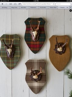 Plaques with Faux Antlers by French Laundry Home at Horchow. Loving the tartan Interiores Shabby Chic, Scottish Decor, Antler Mount, Vignette Design, Plaid Decor, Lodge Decor, Deer Antlers, Reno, Horns