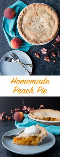 This easy peach pie has a rich-buttery pie crust and a simple peach filling. Use fresh or frozen peaches and enjoy this pie all year round. Peach Pie Recipes, Tart Recipes, Best Dessert Recipes, Sweet Recipes, Holiday Recipes, Baker Recipes, Cookbook Recipes, Cheesecake Recipes, Easy Peach Pie