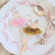 Vintages ballerinas tutus   ... Twelve Vintage Style Ballerina Doll Toppers with Gold and Pink Tutus