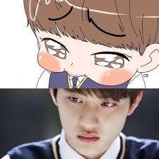 Kyungsoo fanart from It's Okay That's Love Kyungsoo, Chanyeol, Kaisoo, Exo Ot12, Exo Cartoon, Exo Anime, Exo Album, Exo Fan Art, Exo Lockscreen