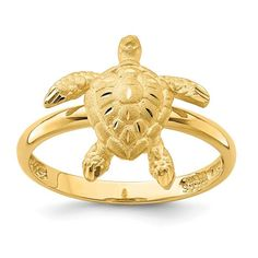 Sea Turtle Pendant Solid 14k Yellow Gold Charm Diamond Cut Design High Polished 17 x 13 mm