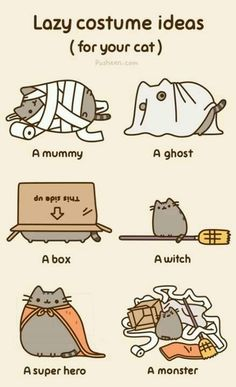 Tagged with comics, gifs, pusheen, lol; Shared by Pusheen and comics for life Gato Pusheen, Pusheen Love, Pusheen Stuff, Costume Chat, Cat Costumes, Costume Ideas, Halloween Costumes, Diy Halloween, Funny Costumes