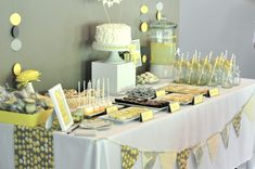 Gray and Yellow Baby Shower - such a beautiful, simple dessert table! #babyshower #grayandyellow